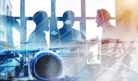 Примите воздушного судна с двойной экспозицией авиапорта Стоковые Изображения