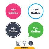 Примите значок знака кофе Символ кофе отсутствующий иллюстрация вектора