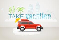 Примите каникулы путешествуя концепция Плоский дизайн Стоковое Изображение