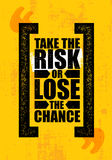 Примите риск или потеряйте шанс Воодушевляя творческий шаблон плаката цитаты мотивировки Дизайн знамени оформления вектора иллюстрация вектора