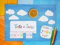 Примите улыбку, положительную думая концепцию Стоковые Изображения RF