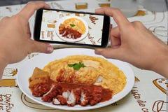 Примите фото блюдо жареной курицы в желтом карри к доле Селективный фокус Стоковые Изображения RF