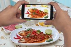 Примите фото блюдо зажаренных рыб карри к доле Селективный фокус Стоковое фото RF