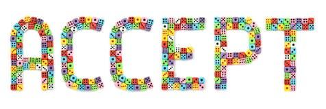 примите цветастое dices сделанный знак стоковые изображения