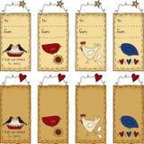 примитива подарка птиц искусства бирка фольклорного установленная Стоковые Фото