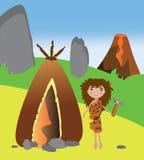 Примитивная женщина стоя около ее дома бесплатная иллюстрация