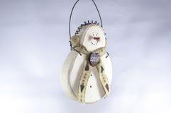 Примитивные орнаменты рождества снеговика Стоковые Фото