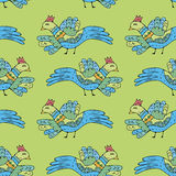 Примитивные птицы чертежа Картина шаржа безшовная с птицами Стоковое Фото