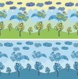 Примитивные птицы чертежа Картина шаржа безшовная с птицами Стоковое фото RF