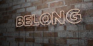 ПРИНАДЛЕЖИТЕ - Накаляя неоновая вывеска на стене каменной кладки - 3D представило иллюстрацию неизрасходованного запаса королевск Стоковые Фотографии RF