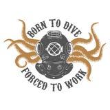 Принесенный для того чтобы нырнуть ed ½ ¿ forï, который нужно работать Винтажный шлем водолаза с осьминогом t Стоковая Фотография