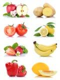 Приносить колокол яблока много фруктов и овощей изолированный собранием Стоковое фото RF