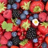 Приносить предпосылка ягод с клубниками, голубиками и красным цветом стоковое фото rf