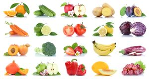 Приносить orang яблока много фруктов и овощей изолированное собранием Стоковое фото RF