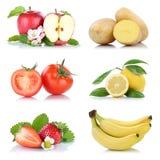 Приносить tomat яблока много фруктов и овощей изолированное собранием Стоковое Изображение