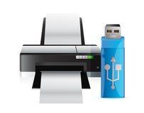 Принтер и ручка usb иллюстрация вектора