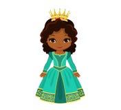 Принцесса вектора очаровательная средневековая в платье бирюзы Стоковое Изображение