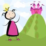 Принцесса и замок Стоковая Фотография
