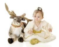 Принцесса и северный олень снега стоковое фото