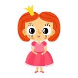 Принцесса, маленькая девочка в розовом платье, изолированный персонаж из мультфильма Стоковое Изображение