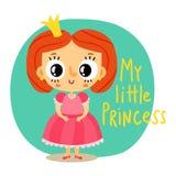 Принцесса, маленькая девочка в розовом платье, персонаж из мультфильма Стоковое Изображение RF