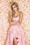 Принцесса, невеста в розовом платье свадьбы Красивая молодая женщина - изображение стоковые изображения rf