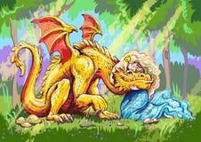 Сказка принцесса обнимает счастливого и очарованного желтого дракона иллюстрация штока