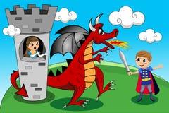 Принцесса принц Дракон Башня Ребенк ягнится сказ Стоковое фото RF