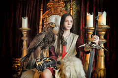 Принцесса ратника на троне Стоковое Изображение