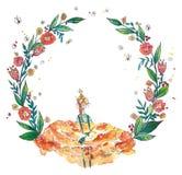 Принцесса сидя на венке цветков Стоковые Фотографии RF