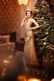 Принцесса ферзя женщины в кроне и платье люкса, backgr партии светов стоковое фото rf