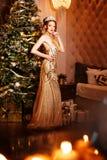Принцесса ферзя женщины в кроне и платье люкса, backgr партии светов стоковая фотография