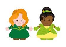 2 принцессы, стиль шаржа иллюстрация штока