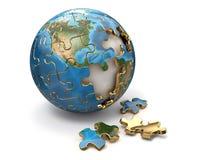 Принципиальная схема глобализации. Головоломка земли. 3d Иллюстрация штока