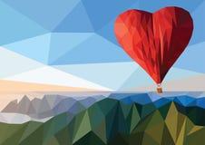 Принципиальная схема дня Валентайн Горячий воздушный шар в форме сердца низко Стоковое Изображение