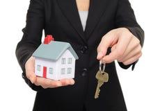 Принципиальная схема ключей нового дома агента недвижимости Стоковое Изображение RF