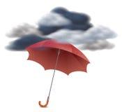 Принципиальная схема обеспеченностью - зонтик под облаками Стоковая Фотография