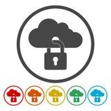принципиальная схема облака 3d представляет обеспеченность Значок облака запертый с padlock иллюстрация штока