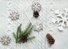 Принципиальная схема рождества Букет рождества с спрусом, елью, снежинками на белизне связал предпосылку дополнительный праздник  Стоковое Изображение