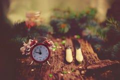 Принципиальная схема рождества Время гала-ужина Будильник с Стоковое Фото