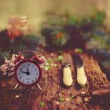 Принципиальная схема рождества Время гала-ужина Будильник Cutle Стоковые Фото