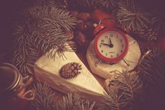 Принципиальная схема рождества Время гала-ужина Очень вкусное Camemb Стоковые Фото