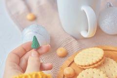 Принципиальная схема с Рождеством Христовым присутствующая стоковые фото