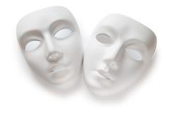 Принципиальная схема театра - белые маски Стоковые Изображения RF