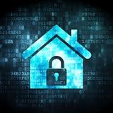 Принципиальная схема безопасностью: дом на цифровой предпосылке стоковое изображение