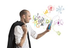 Принципиальная схема бизнесмена и интернета Стоковые Фотографии RF