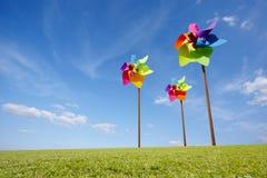 Принципиальная схема ветрянки игрушки зеленой ветровой электростанции энергии Стоковые Фото