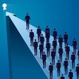 Принципиальная схема водительства Команда менеджера ведущая работников идя вперед иллюстрация штока