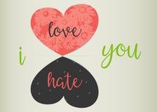 Принципиальная схема влюбленности или ненависти Полюбите против ненависти Стоковые Фотографии RF