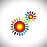 Принципиальная схема групп женщин как cogwheels представляя общины Стоковая Фотография